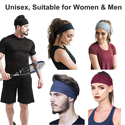 Tabiger 6-Pack Sport Headbands for Women Men Hairband Sweatband Soft Elastic Stretch Head Hair Bands Non-Slip Workout Sweat Headwraps for Running Yoga Gym Fitness Hiking Cycling Outdoor Exercise
