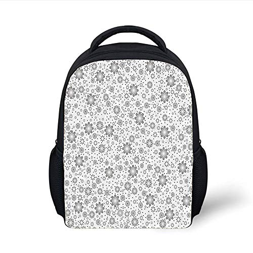 Kids School Backpack Grey Decor,Mix Florals with Rotary Round Rings and Dot Spots on The Backdrop Simplistic Blossom,Cloud Plain Bookbag Travel Daypack