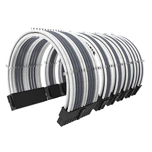PSU Cable Kit 3.0 Gray/White 11 4/5 inch Length with Cable Combs Extension Power Supply Cable Kit 24-pin 8-pin 6-pin for ATX Power Supply