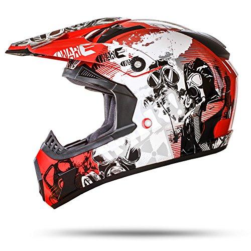 ATO Moto GS Nevada Rot Größe M 57-58cm Motocrosshelm Motorradhelm mit ausziehbarer Sonnenblende ECE 2205