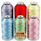 New brothread Conjunto de 6 Colores Pastel-1 Poliéster Bordado Máquina Hilo Grande carrete 5000M para todas las máquinas de bordado