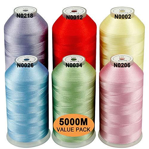 New brothread 6er Set Pastell Farben-1 Polyester Maschinen Stickgarn Riesige Spule 5000M für alle Stickmaschine