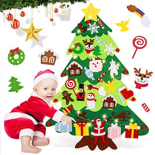 O-Kinee Árbol de Navidad de Fieltro, 3.3ft DIY Christmas Hanging Tree Set con 30 Piezas Adornos, Fieltro Arbol de Navidad para Niños Decoración Pared Puerta Hogar Año Nuevo Navidad Regalo