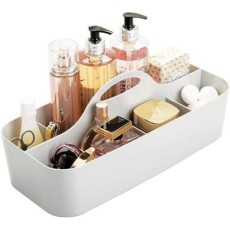 mDesign panier rangement salle de bain, 11 compartiments – boite rangement salle de bain et douche – grande boite rangement plastique, avec poignée – pour shampooing et Cie – plastique – gris clair