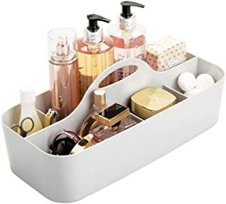 mDesign Plastic Portable Makeup Organizer Caddy Tote, Divided Basket Bin with Handle, for Bathroom Storage - Holds Blush Makeup Brushes, Eyeshadow Palette, Lipstick - Extra Large - Light Gray