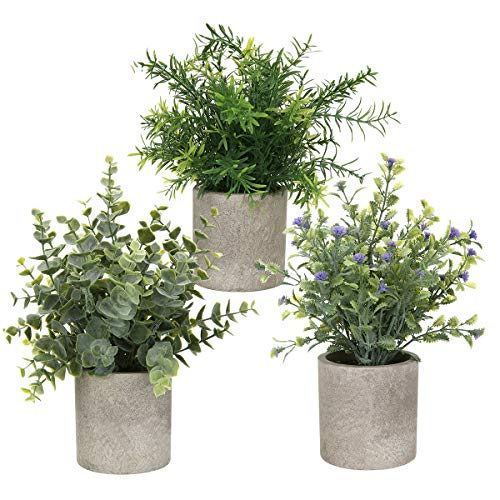 AXABING 3PCS Artificial Plant, Potted Plants Indoor Mini Potted Artificial Plants Indoor Green Plants for Decoration Suitable for Living Room Kitchen Bedroom Desk Balcony Decor (Green-1)