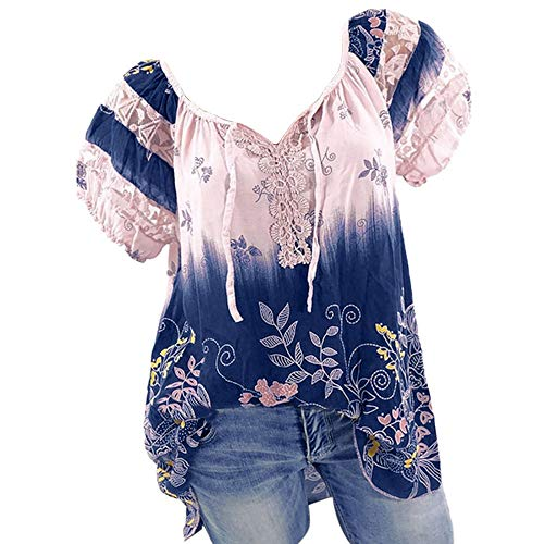 Off Shoulder Blouse Top for Women Lace Patchwork V-neck Tunic Top Plus Size Loose Casual Lightweight Shirt Top