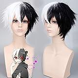 Danganronpa: Trigger Happy Havoc Dangan Ronpa Monokuma hombres corto blanco negro Cosplay peluca juego de rol coletas 35cm
