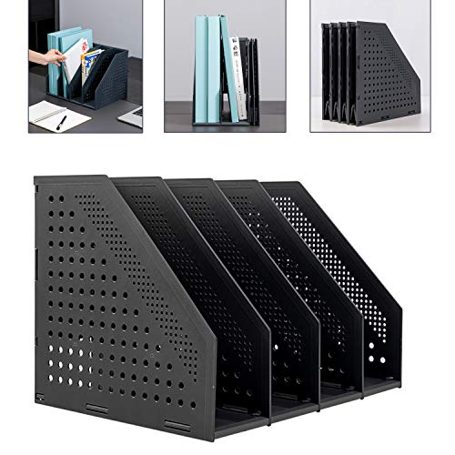 Leven Collapsible Magazine File Holder/Desk Organizer for Office Organization and Storage with 4 Vertical Compartments