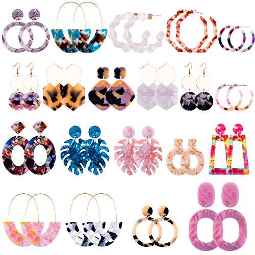Duufin 20 Pairs Acrylic Earrings Statement Earrings Resin Drop Dangle Mottled Acrylic Hoop Earrings Polygonal Bohemian Earrings Fashion Jewelry Earrings for Women Girls