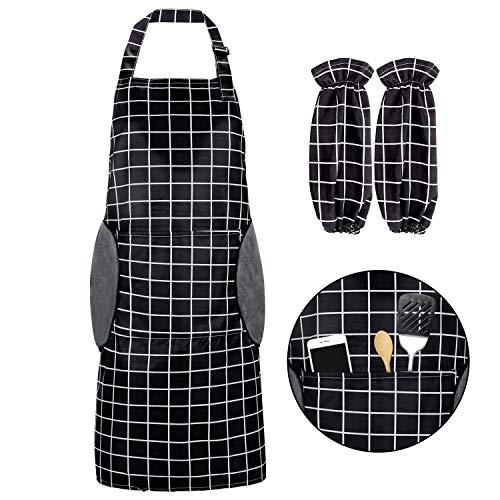 RenFox Schürze, Wasserdicht Kochschürze mit Taschen,Verstellbarem Küchenschürze in Profiqualität,Grillschürze,latzschürze,Küchenschürze (Schwarz-Weiß-Gitter)