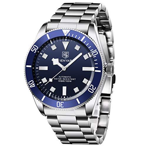 BENYAR Black Bay Fifty Eight Relojes automáticos para Hombres, Banda de Acero Inoxidable, Bisel de Aluminio anodizado, Espejo arqueado, 100 m Impermeable Reloj de Pulsera de Cuerda automática