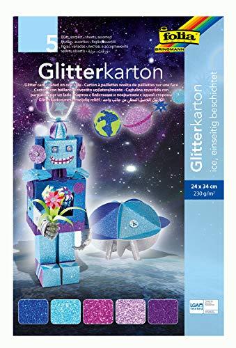 folia 85249 - Glitterkarton Ice, farbig sortiert, 24 x 34 cm, 5 Blatt, 300 g/qm - für elegante und funkelnde Bastelarbeiten