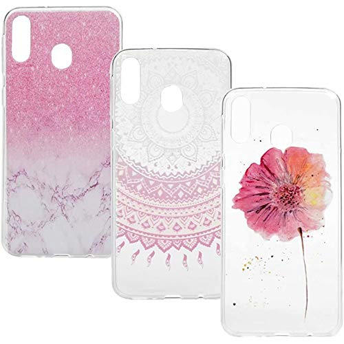 Paquete de 3 fundas para Samsung Galaxy S21 Plus/S30 Plus, a prueba de golpes, de poliuretano termoplástico suave y transparente, con diseño floral, antiarañazos, para Samsung Galaxy S21 Plus/S30 Plus
