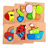 FLORMOON Puzzles de Madera para niños pequeños 6 unids Rompecabezas Vehículos Avión Bote Insecto Mariposa Oso Puzzles Juguetes Educativos para Niños