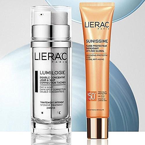 LIERAC Set Gesicht lumilogie Antimacchie Tag Nacht + sunissime SPF50+ Flüssigkeit