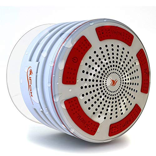 iFox iF013 Bluetooth Shower Speaker with Suction Cup-100% Waterproof-LED Light- FM Radio- Portable Wireless Speaker-8 hrs Playtime- Connects to All Bluetooth Devices(White)