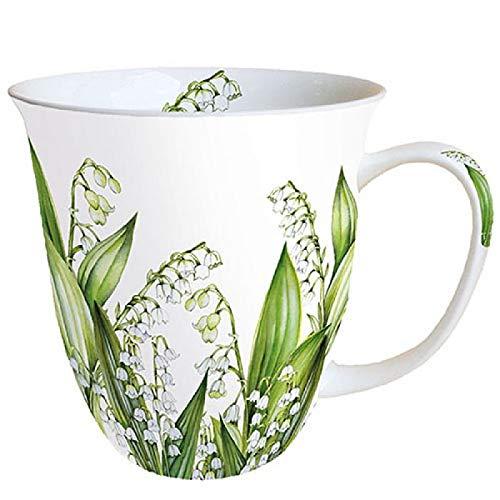Porzellanbecher Sweet Lily Maiglöckchen Frühling Kaffeebecher Mug 0,4l Fine Bone China Weiß Grün Becher Tasse Blumen