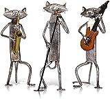 3 Tocando música Gatos Banda Escultura Set Regalos Adorno de Metal Combinación de Animales Escultura Decoraciones para el hogar y la Oficina