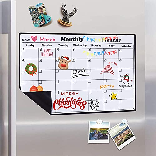 Magnetic Calendar Dry Erase Whiteboard for Fridge, 2021 Weekly and Monthly Planner White Board Memo with Strong Magnet Use as Planner Calendar, Grocery, to Do List Planner Organiser, 43x30cm