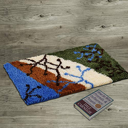 Knüpfteppich 60x40cm Knüpfen Set mit Haken DIY Teppich selbst machen zu Hause Büro vor Tür