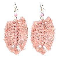 Botreelife ボヘミアのイヤリングは、女性のためのタッセルイヤリングシャンデリアダングルスタッドを残します(ピンク)