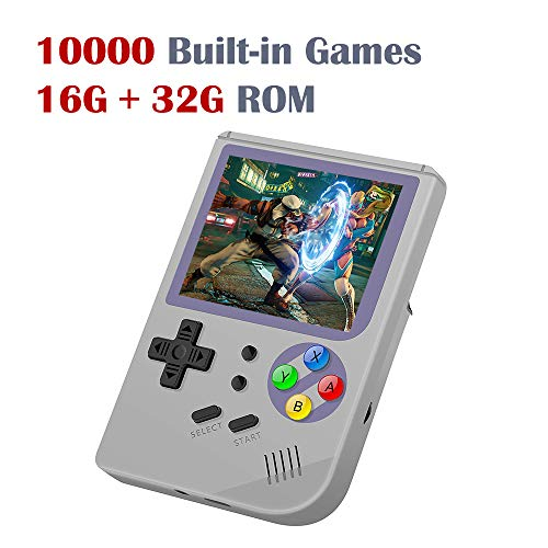 DREAMHAX RG300 Portable Game Console with Open Linux System Preload 10000 Games, Handheld Video Games with 16G + 32G TF Card 3 Inch IPS Screen, Arcade Retro Gameboy Gifts (Gray)