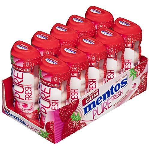 Mentos Chicle Fresa, Sin Azúcar - 10 unidades de 30 gr. (Total 300 gr.)