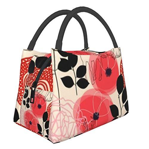Bolsa de almuerzo portátil con aislamiento Cool (Flowers Deers Pattern) 8.5L