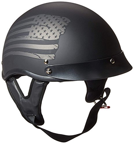 TORC Unisex-Adult Size Style T53 Hills Motorcycle Half Helmet with Graphic Flag (Flat Black, XX-Large)