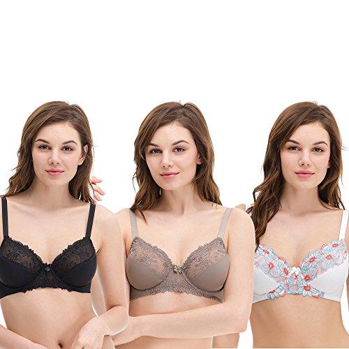 Curve Muse Women's Plus Size Unlined Underwire Minimizer Lace Embroidery Bra-3PK-BLACK,Gray,CREAM-36DDDD