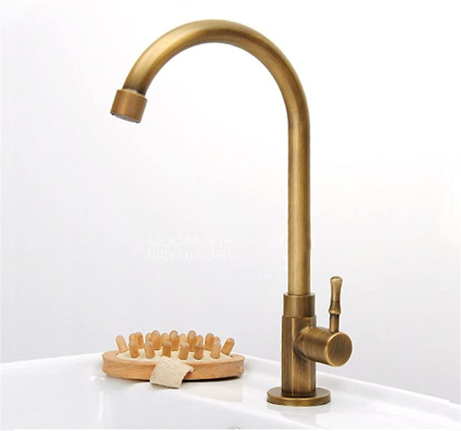 Commercial Kitchen Faucet Stainless Steel Handle Pull Out Kitchen Sink Faucet European Bronze Copper Faucet Single Cold Kitchen Basin Faucet???Antique 360 ??Degree redatable Faucet