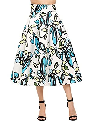 Finejo Womens Floral Print High Waisted Tie Casual Aline Street Skirt Party Midi Skirt