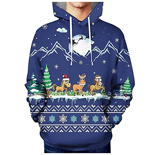 Men's Casual Digital Printed Hooded Sweater Cool Autumn and Winter Top Sweatshirts Blouse Christmas Graphic Pullover
