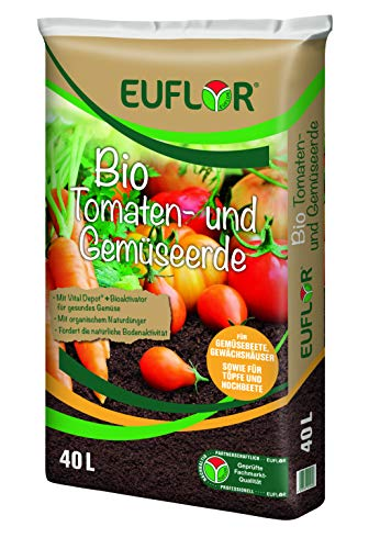 Euflor Bio Tomaten Gemüseerde 40 L hochwertige Spezialerde für Tomaten und Gemüsepflanzen, für kräftige Pflanzen und Reichhaltige Erte