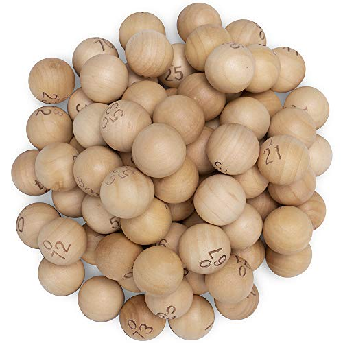 Bingokugeln aus natürlichem Holz mit Gravur für Jumbo-Bingokäfige - ideal für Bingo-Nächte, Raffles und mehr - Ersatz für verlorene Bingo-Bälle