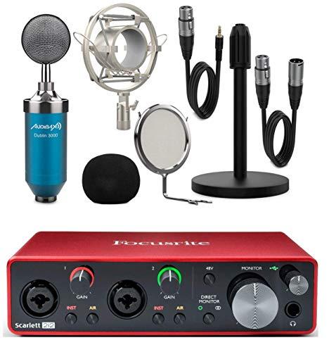 Focusrite Scarlett 2i2 3rd Gen + Audibax Dublin 3000 Blue Pack Micrófono Studio Gran Diafragma