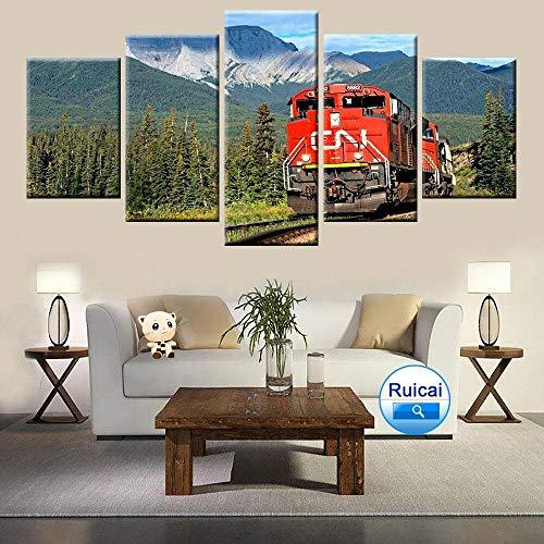 IKDBMUE Cuadro sobre Lienzo - 5 Piezas - Tren Rojo el Paisaje - Ancho: 150cm, Altura: 80cm - Listo para Colgar - en un Marco