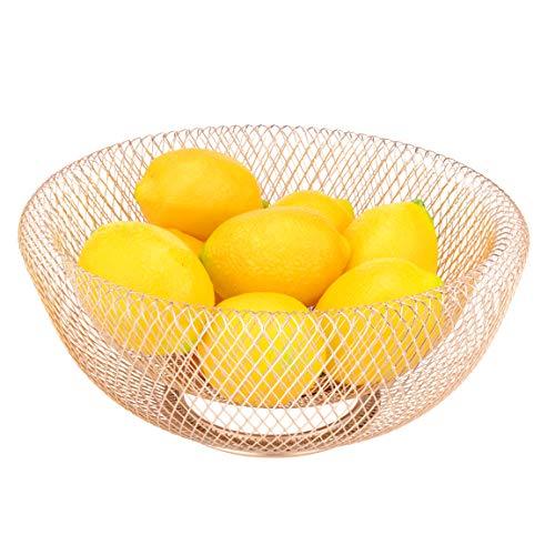 IBERG Mesh Fruit Bowl Decorative Fruit Basket Holder for Kitchen, Reception, Dining...