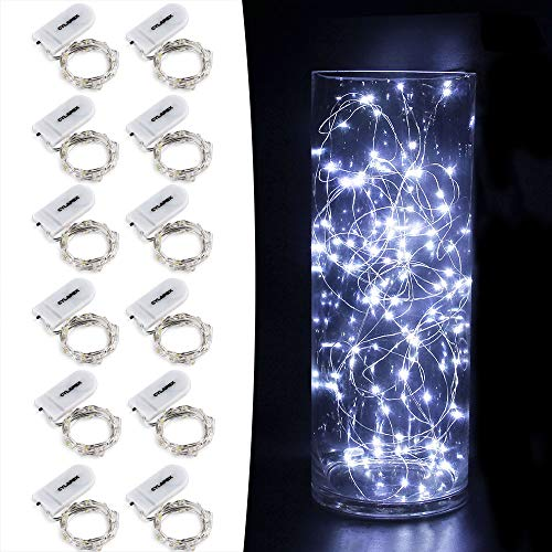 CYLAPEX 12 PCS Fairy Lights Cool White 3.3FT Silvery Copper Wire 20 LED String Lights Battery Powered, Starry String Lights Battery Operated Firefly Lights for Costume DIY Wedding Home Party Christmas