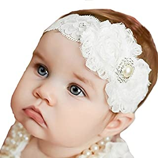 GUGELIVES Miugle Baby Christening Headbands Baby Girl Baptism Headbands with Bows, White, 0-3years