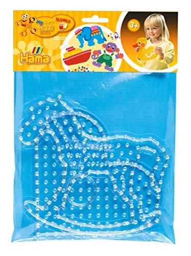 Hama Perlen 8263 Stiftplatten 2er Set für Maxi Bügelperlen mit Durchmesser 10 mm, Motive Schaukelpferd und Herz in transparent, kreativer Bastelspaß für Groß und Klein