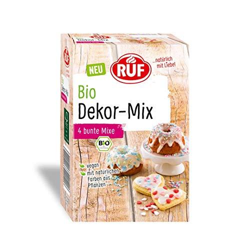 RUF Bio Dekor-Mix, 4 bunte Streusel, ohne künstliche Farbstoffe, vegan, 140 g, 12559