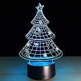 DFDLNL Acrílico 3Dluz árbol de Navidad lámpara led 7 Colores cambiantes luz de Noche Navidad da el Regalo de los niños