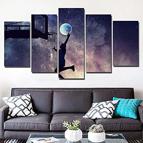 KOPASD De Lienzo De Pared Arte Pintura Starry Night Sky Moon Stars Sports para DecoracióN del Dormitorio Y El Hogar, Arte Mural,Ideal para Decorar La Casa 5 Partes (con Marco)