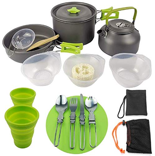 AIJUN Outdoor Camping Cookware Set,Nonstick Lightweight Camping Pots and Pans Set Backpacking Cookset with Mesh Bag for Backpacking,Outdoor,Hiking and Picnic(16Pcs /Set)