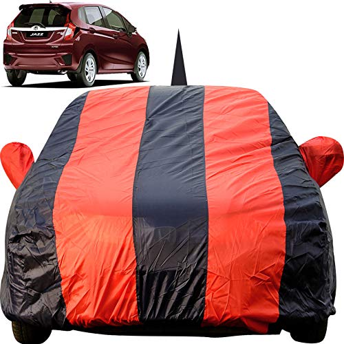Autofact Car Body Cover for Honda Jazz (2015 to 2019) with Mirror and Antenna Pocket (Light Weight, Triple Stitched, Heavy Buckle, Bottom Fully Elastic, Red Stripes with Navy Blue Color)