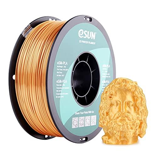 eSUN Filamento PLA Seta Metallo 1.75mm, Stampante 3D Filamento PLA, Precisione Dimensionale +/- 0.05mm, Bobina da 1KG (2.2 LBS) Materiali di Stampa 3D per Stampante 3D, Oro Seta