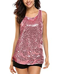 Pink Sleeveless Shimmer Camisole Vest Sequin Tank Top