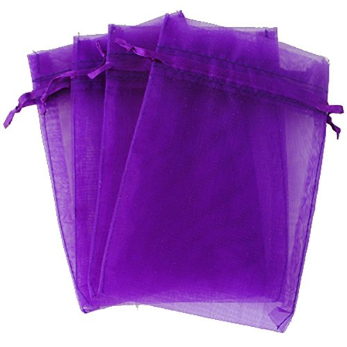 "4''X6"" Organza Bags,100PCS 10X15CM Drawstring Organza Jewelry Favor Pouches Wedding Party Festival Gift Bags Candy Bags (Purple)"